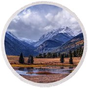 Sheep Lakes Autumn Round Beach Towel