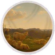 Sheep On A Hill Near Skarridso Round Beach Towel