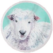 Sheep Painting - Jeremiah Round Beach Towel