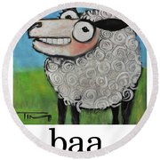Sheep Poster Round Beach Towel