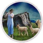 Sheep Whisperer Round Beach Towel