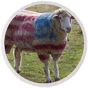 Sheep With American Flag Round Beach Towel by Garry Gay