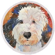 Sheepadoodle Round Beach Towel