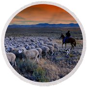 Sheepherder Life Round Beach Towel