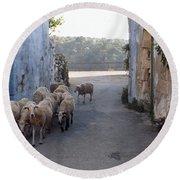Sheeps Of Crete Round Beach Towel