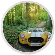 Shelby Ac Cobra In The Woods Round Beach Towel