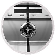 Shelby Ford Mustang Trunk Lid And Badge In Black And White Round Beach Towel