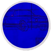 Shelby Gt Mustang Blueprint Round Beach Towel
