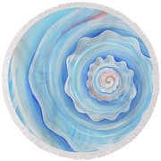 Shell Coral Blue Round Beach Towel