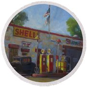 Shell Station Brown County Round Beach Towel