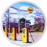 Shell Station Round Beach Towel