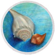 Shells In Blue Round Beach Towel
