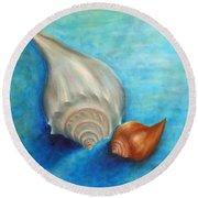 Shells In Blue Round Beach Towel
