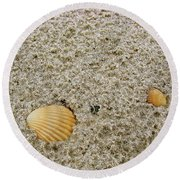 Shells In The Sand Round Beach Towel