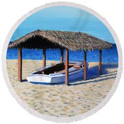 Sheltered Boat Round Beach Towel
