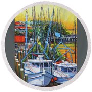 Shem Creek Shrimpers Sunset Round Beach Towel