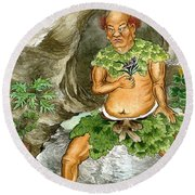 Shennong, Chinese Deity Of Medicine Round Beach Towel