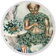 Shennong, Chinese God Of Medicine Round Beach Towel