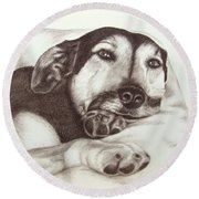 Shepherd Dog Frieda Round Beach Towel