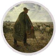Shepherd Tending His Flock Round Beach Towel