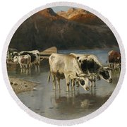 Shepherd With Cows On The Lake Shore Round Beach Towel