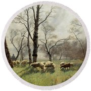 Shepherd With His Flock In The Evening Light Round Beach Towel