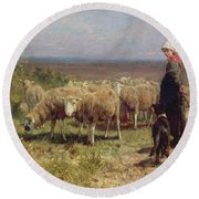 Shepherdess Round Beach Towel by Anton Mauve