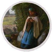 Shepherdess Seated On A Rock Round Beach Towel