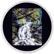 Shepherds Dell Falls Coumbia Gorge Or Round Beach Towel