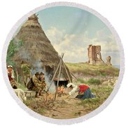 Shepherds Resting In The Roman Campagna Round Beach Towel