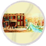 Sherbrooke In Winter Round Beach Towel