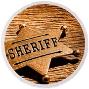 Sheriff Badge - Sepia Round Beach Towel