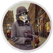 Shetland Sheepdog Art Canvas Print - Charleston Blue Round Beach Towel