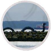 Shilshole Sea Serpent Round Beach Towel