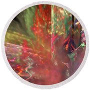 Shimmer Leaves Round Beach Towel