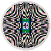 Shimmering Plaid Fractal 66 Round Beach Towel
