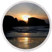 Shimmering Sands Sunset Round Beach Towel