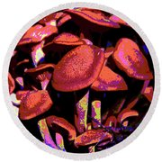 Shimmering Shrooms Round Beach Towel