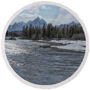 Shimmering Snake River And The Tetons Round Beach Towel