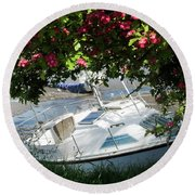 Shindilla Framed With Flowers Round Beach Towel