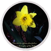 Shining Daffodil Round Beach Towel