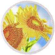 Shining Sunflowers Round Beach Towel
