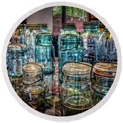 Shiny Glass Jars Round Beach Towel