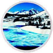 Shiny Snow Magic On Lake Round Beach Towel