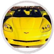 Shiny Yellow Corvette Convertible  Round Beach Towel