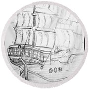 Ship At Sea Round Beach Towel