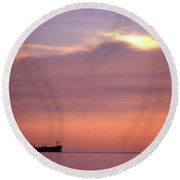 Ship At Sea Two Round Beach Towel