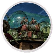 Ship In A Bottle Round Beach Towel