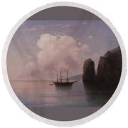 Ship In Calm Water At Dusk Round Beach Towel