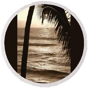 Ship In Sunset Round Beach Towel
